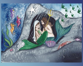 Nativity Mermaids Note Cards from Original Watercolors by Camille Grimshaw