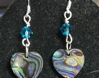 Heart Puka Shell SS Dangle Earrings #53