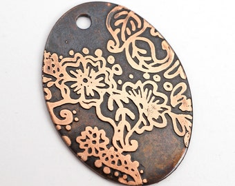 Copper henna inspired pendant, copper oval etched design charm, yoga jewelry, 31mm