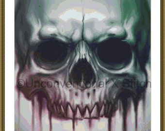 Skull cross stitch pattern - Bleed inked skull v2