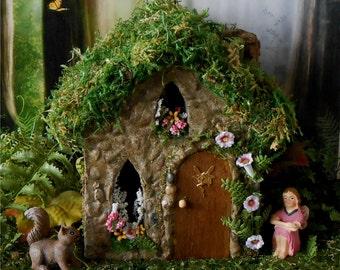 Fairy House, Fairy Garden, Outdoor Fairy House, Garden Cottage, Stone Cottage, Miniature Garden House, Morning Glory, Mini Garden, Dollhouse