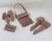 1:6 scale Fashion doll Shoes Purses Purchase individually or as sets Suede Leather Purses and moccasins - beige