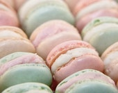50% OFF SALE Food Photography French Macaron Parisian Pastels Spring Pale Pink Mint Green Valentine Photo Still Life 5x5 Inch Fine Art Photo