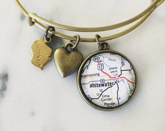 University of Wisconsin-Whitewater Map Charm Bangle Bracelet - Go Warhawks - UWW - Whitewater Wisconsin - Graduation Gift