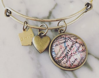 Youngstown Map Charm Bangle Bracelet - Personalized Map Jewelry - Stacked Bangle - Ohio Pride - Bridesmaid Gift