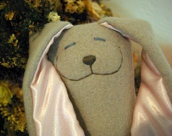 Grey and Pink Fleece Snuggle Bunny Plush Toy