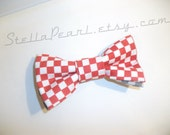 Bow Tie - Race Track Checkered Red White Unisex CLIP ON - For Child and Adult