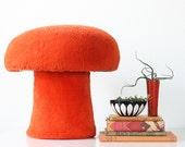 Vintage Orange Mushroom Ottoman