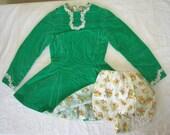 Dance Roller Skate Dress Vintage 50s Girls Velvet Sequin Full Swing Skirt Ice Skating with Bloomers Costume S