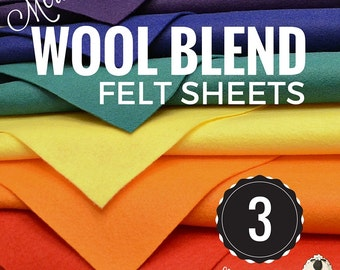 3 or 6 Merino Wool Felt Sheets, Wool Felt Bundle, Wool Blend Felt, Wool Felt Fabric, Wool Felt Sheets, Craft Felt Sheets, Choose your Colors