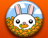 Cutesy Bunny - 2.25 Inch Large Button / Magnet / Bottle Opener / Pocket Mirror / Keychain - Rabbit Animal Carrots - Sick On Sin