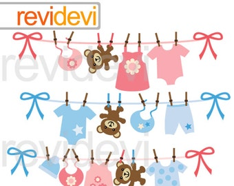 Baby clothesline clipart - hanging baby clothes and teddy bear clipart - pink blue - digital images - instant download