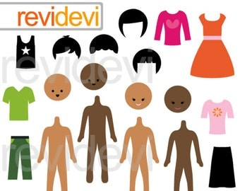DIY Make your own paper dolls boys and girls clipart - Build your friends clipart - mix and match - instant download