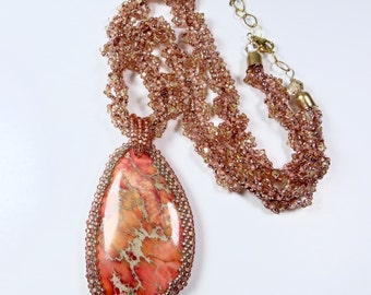 Peach Coral Stone Necklace, Large Agate Pendant, Agate Stone, Coral Pink Stone Necklace, Spiral Bead Pendant Glamorous Statement Necklace