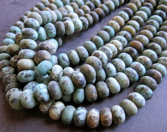 African Turquoise matte finish rondelles 8mm X 5mm beads - semiprecious stone