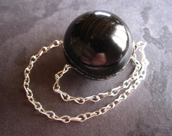 Black Tourmaline Pendulum Sphere Stone - with bail and chain - 7/8 inch