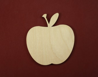 Classic Apple Shape Unfinished Wood Laser Cut Shapes Crafts Variety of Sizes