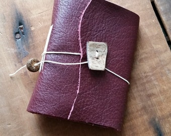 Burgundy Leather, wood button,Small Handbound Leather Journal Book