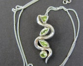 Vintage 925 Sterling Silver and Peridot Gem Pendant and Necklace