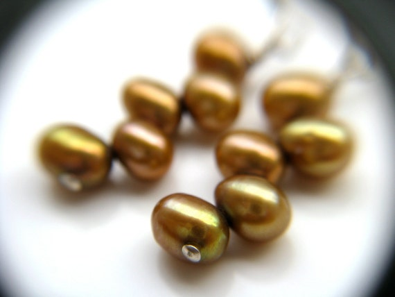 Golden Pearl Drop Earrings . June Birthstone Jewelry . Golden Earrings . Gold Pearl Earring - California Collection
