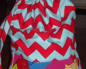 Red and Aqua chevron peek a boo toy sack