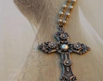 Ornate Silver Cross/Handmade Gypsy Style