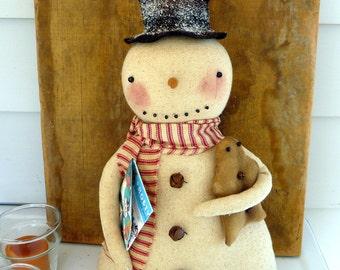 Primitive Snowman gingerbread Christmas decoration