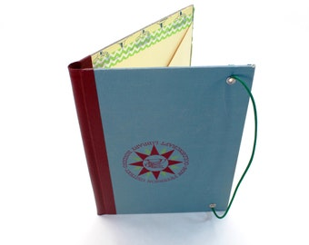 Refillable Journal Cover, Blue/Maroon Medallion, Vintage Children's Textbook Cover