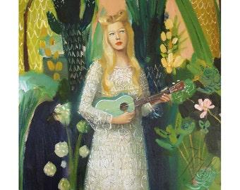 Lady Ukulele. Art Print