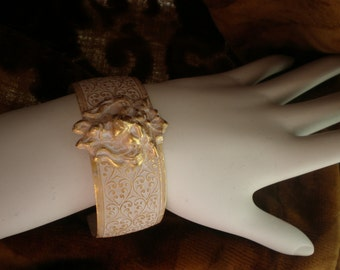 Lioness Cuff Bracelet, Gold and White Cuff Bracelet, Leo, July, Embossed Cuff Bracelet, White Bracelet, Gold Bracelet