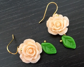 Sweet Roses 14k Gold Plated Earrings in Peach