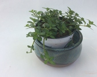 Handmade Blue Planter pot -great for herbs- succulents -nice gift- pottery-ceramic- handmade pottery B93
