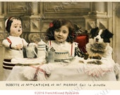 Bobette's Party Victorian Girl with Dog and Doll Altered Antique French Postcard Digital Download