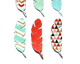 Feathers...Set Of 4 .... Fabric Iron On Appliques ...Seven Designs