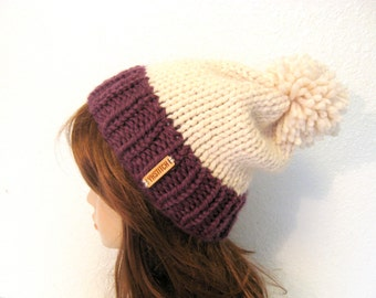 Slouchy Knit Hat with Pom Pom /VAIL / Fig and Fisherman