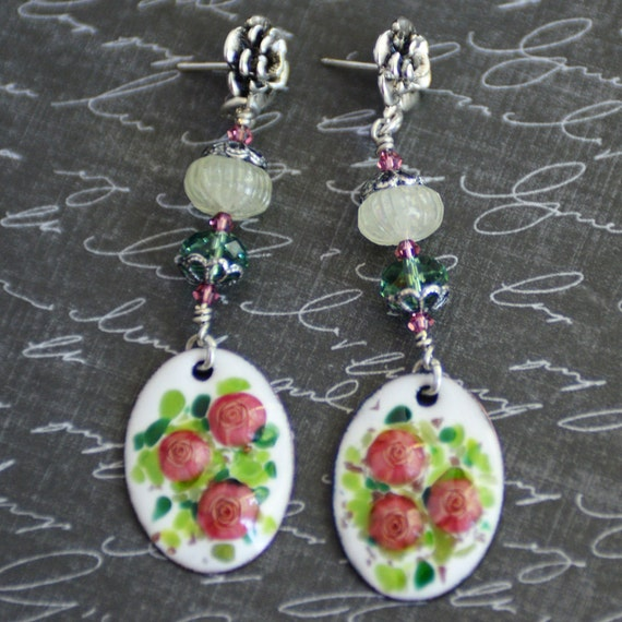 Rose Garden Cottage Chic Earrings Artisan Pink And Green