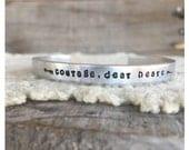 C.S. Lewis quote Courage, dear heart, hand stamped cuff bracelet, silver cuff bracelet, graduation gift