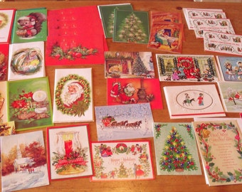 Lot of 30 Vintage 1960s  1970s Christmas Cards All Unused