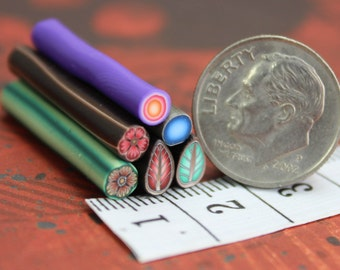 Set of 6 ITTY-BITTY 1-inch Polymer Clay Canes (44C)