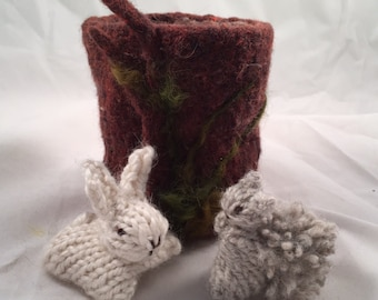 Needle Felted Log Home and Mice - READY TO SHIP