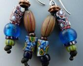 Double Dangle African Trade Bead Earrings