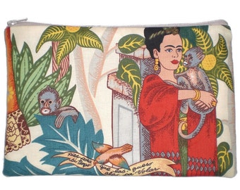 Frida Mexican Art Makeup Bag Zipper Pouch Wallet  Gadget Bag Clutch Large Size 6x9 Inches