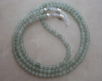 green aventurine eyeglass chain holder silver ends