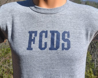 70s vintage tee FCDS country day school boarding private rayon tri-blend heathered gray preppy t-shirt Small XS