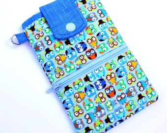 Wallet phone case, iphone 6 iphone 7 wallet case, fabric iphone pouch, fabric phone case Blue Owl