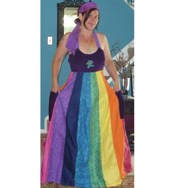 Handmade Hippie Patchwork Rainbow Maxi Spinner Dress (opptional Grateful Dead applique) Made to order