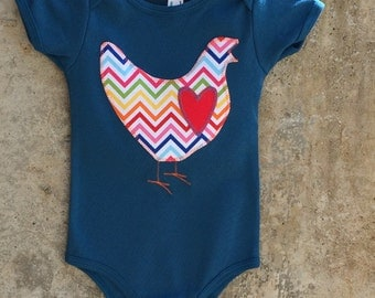 Girls or Boys Baby Bodysuit - Rainbow Chevron Chicken LOVE - Sizes for Infants and Toddlers - You Choose Color - Fun Birthday or Shower Gift