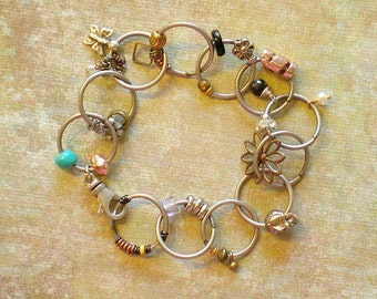 Skeleton Charm Bracelet-Silver Links With Funky Charms-Minimalist Bracelet-Chunky Bracelet-Steampunk Bracelet-Gift Teen Girl-Goth Jewelry