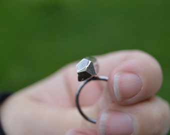 Crystal ring - sterling silver cast crystal - size 7