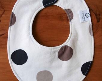 Modern Baby Bib; Black and Gray Polkadot Baby Bib; Reversible Drool Bib for Boy or Girl; Organic Cotton Teething Bib; Handmade in Canada
